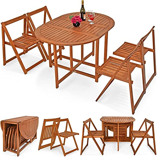 De madera Juego de muebles de jardín patio balcón 4 plazas al aire ...