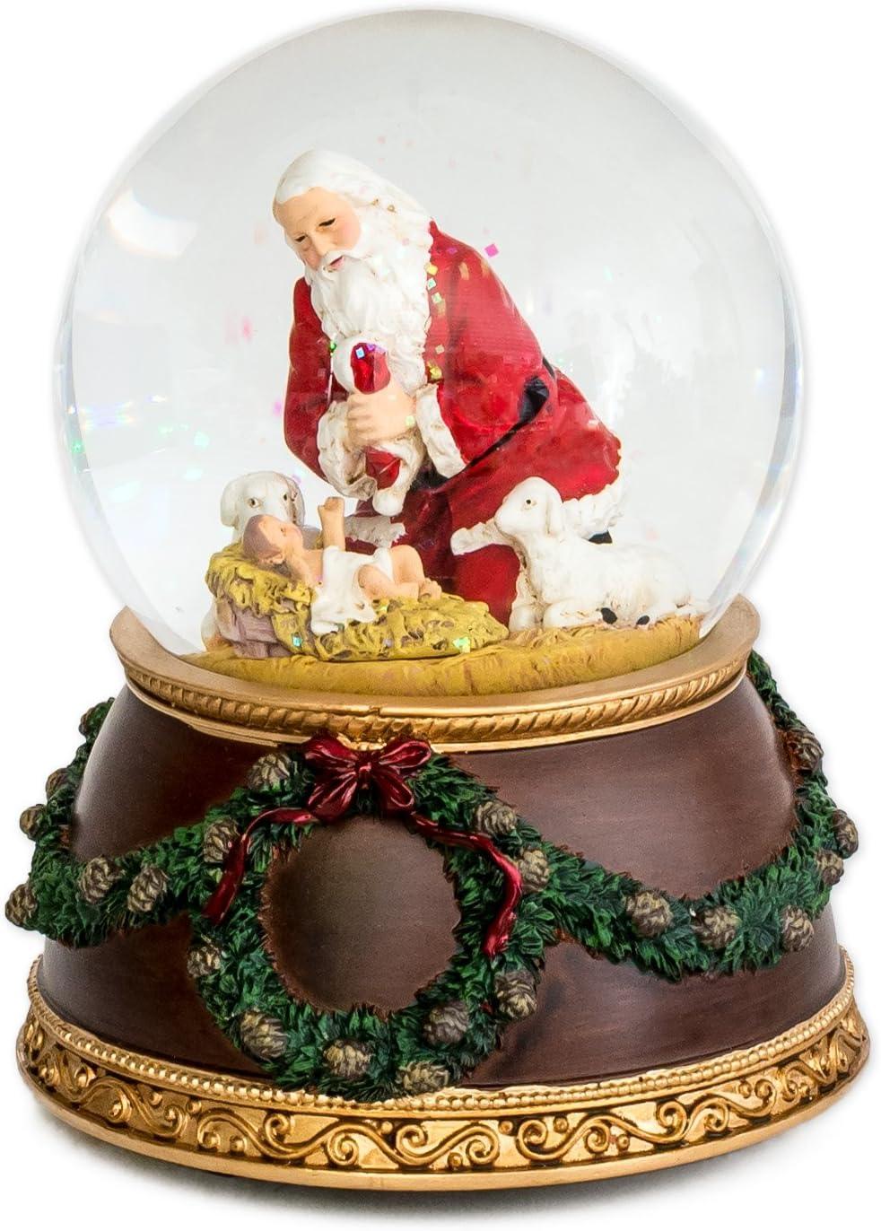 Kneeling Santa Baby Jesus 6 Inch Holiday Water Globe Plays Tune Silent Night