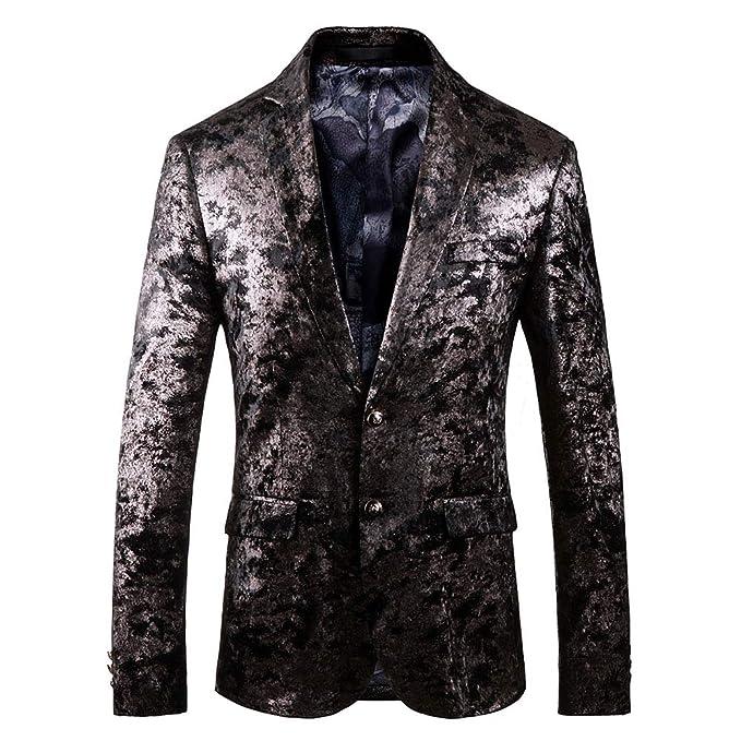 Santimon Chaqueta de Traje para Hombre Lujo Casual Estampados Abrigo Tops Blazer: Amazon.es: Ropa y accesorios