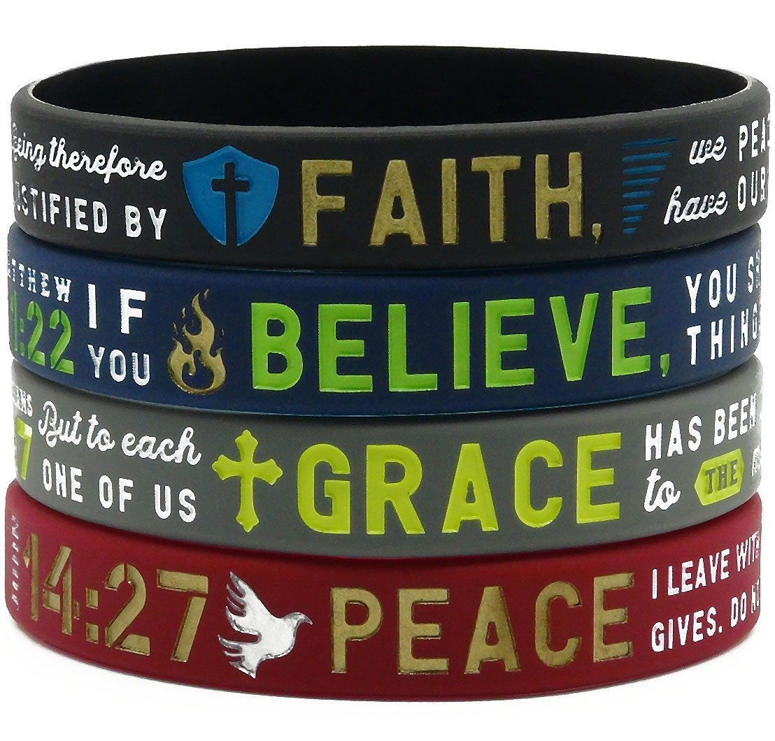 ''Faith, Believe, Peace, Grace'' Silicone Bible Bracelets - Christian Religious Jewelry Gifts for Men Women