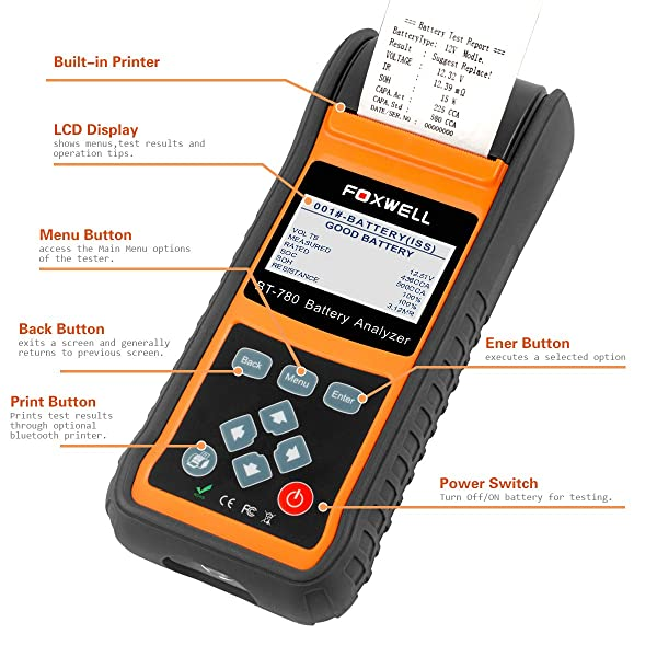 FOXWELL Battery Tester BT780 is a great Do-it-Yourself battery tester.