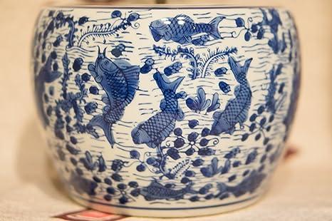 Hibachi-pequeña cerámica y porcelana japonesa pecera Togei Ikebana Yakimono carpa patrón de escritura a