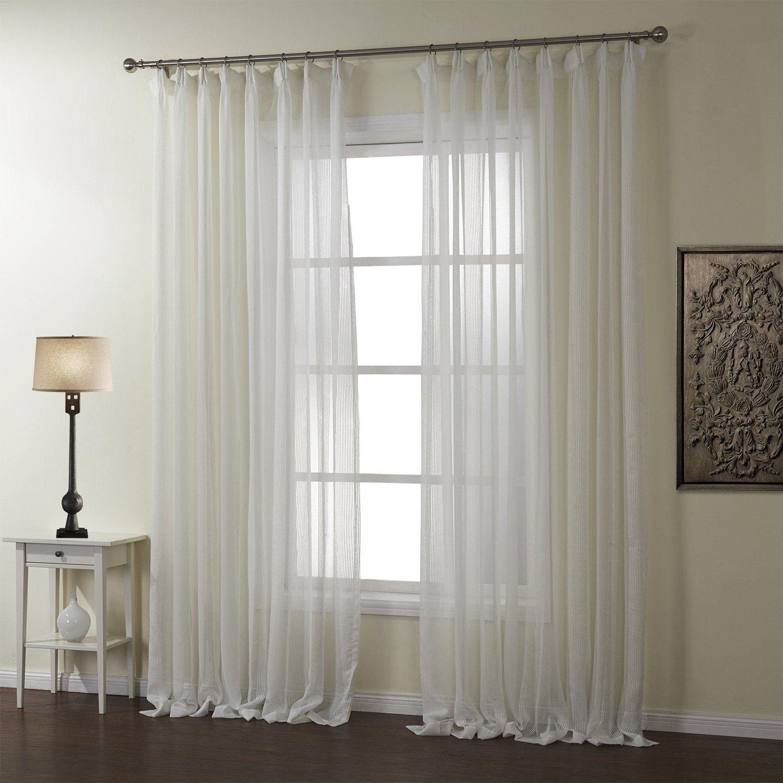 LIYAXUN Pleated Top Transparent Gauze Jacquard Polyester Multi Size Custom Energy-saving Sheer Curtains/Drapes 42 W x 63 L(One Panel),White 1
