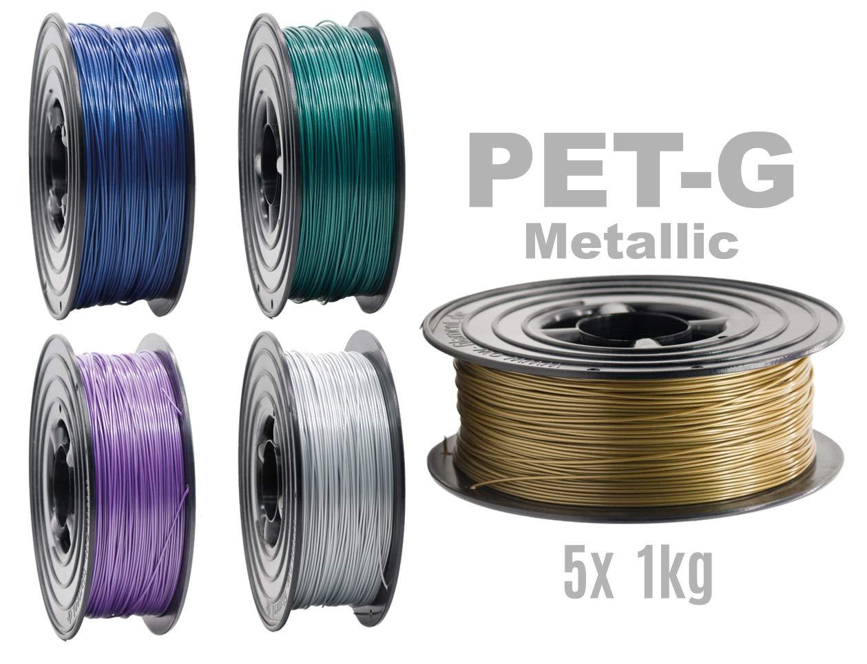PETG Filamento para impresora 3D, 1,75 mm/5 x 1 kg, rollo 5 ...
