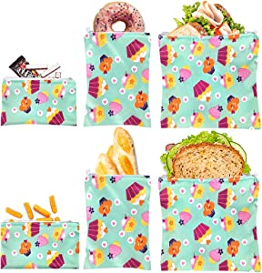 Reusable Sandwich Bag Snack Bags - Value Pack of 6 Dual Layer Lunch Baggies - Dishwasher Safe - Eco Friendly Cloth Wraps - Easy Open Zipper For Kids (Cake)