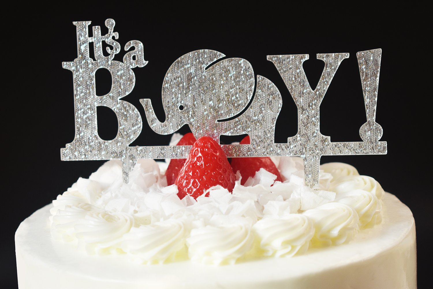 Brcohco Its A Boy  Cake Topper Pregnancy Announcement Baby Shower Gender Reveal Sliver Glitter with Elephant Sign Party Favors Decorations Supplies