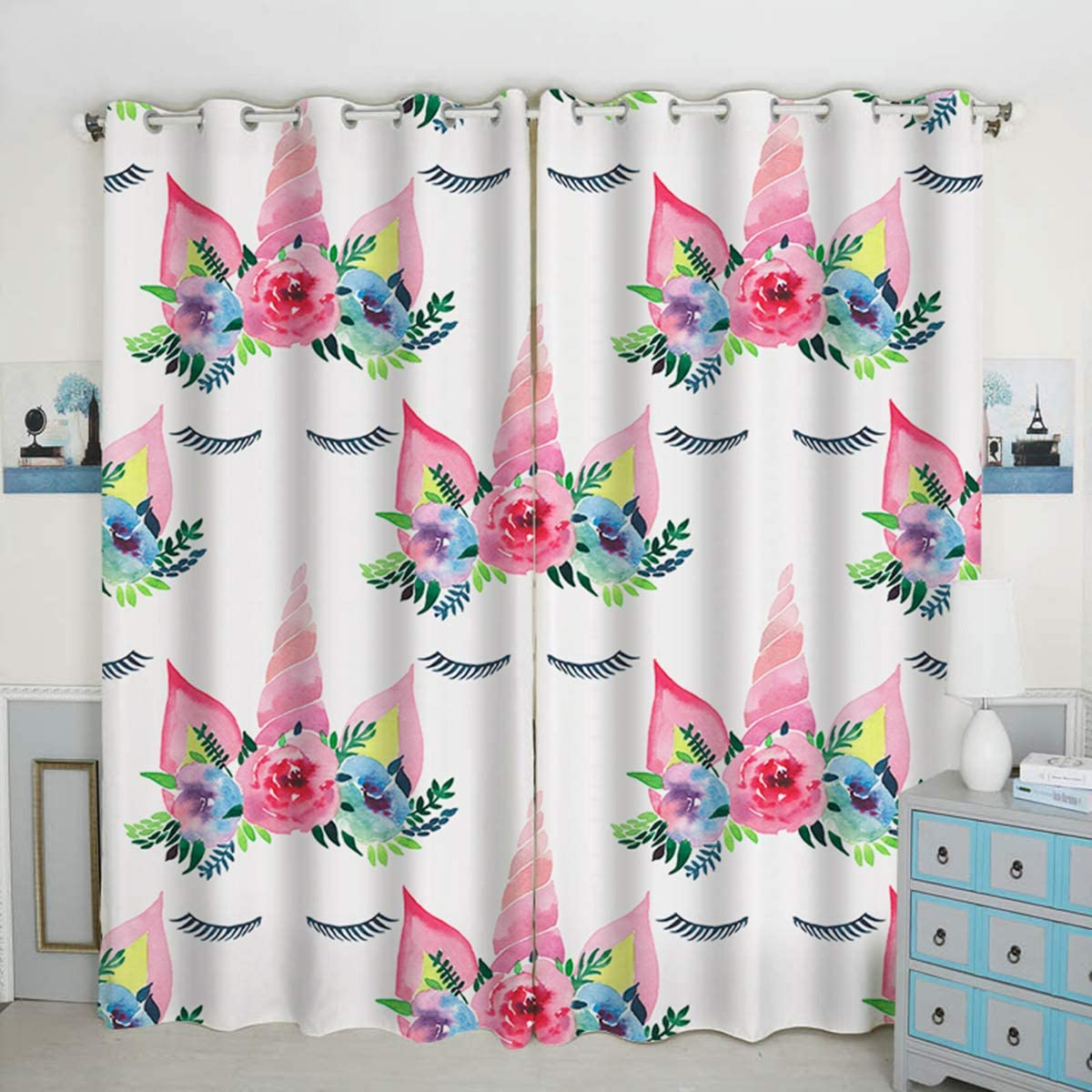 QH Window Curtain Panels Magical Unicorns with Eyelashes Pattern Blackout Curtain Panels Thermal Insulated Light Blocking 42W x 84L inch Set of 2 Panels