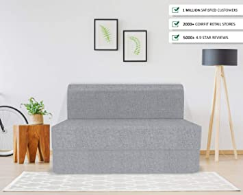 Coirfit Folding Sofa Cum Bed Perfect For Guests Jute Fabric Washable Cover 3 Seater Grey 6 X 6 Feet Amazon In Electronics
