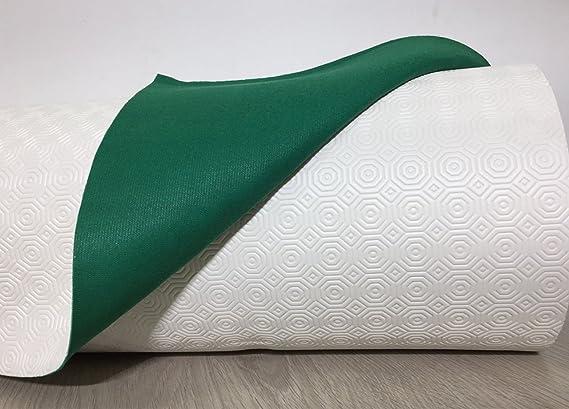 Bianco//Verde 140x100 cm Mollettone plastificato proteggi tavolo antimacchia Bianco e Verde in tutte le misure