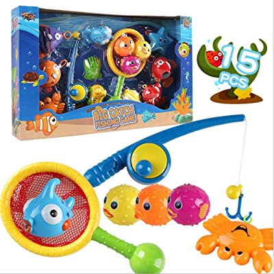 Bath Toy, Fishing Floating Squirts Toy & Water Scoop Panzisun 15PCS Fish Net Game in Bathtub Bathroom Pool Bath Time for Kids Toddler Baby Boys Girls, Bath Tub Spoon: Kitchen & Dining