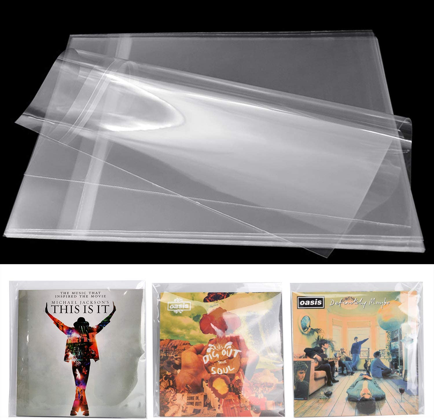 """Crystal Clear Plastic OPP 12/"""" Vinyl 33 RPM Record 5 Mils Snug Outer Sleeves"""