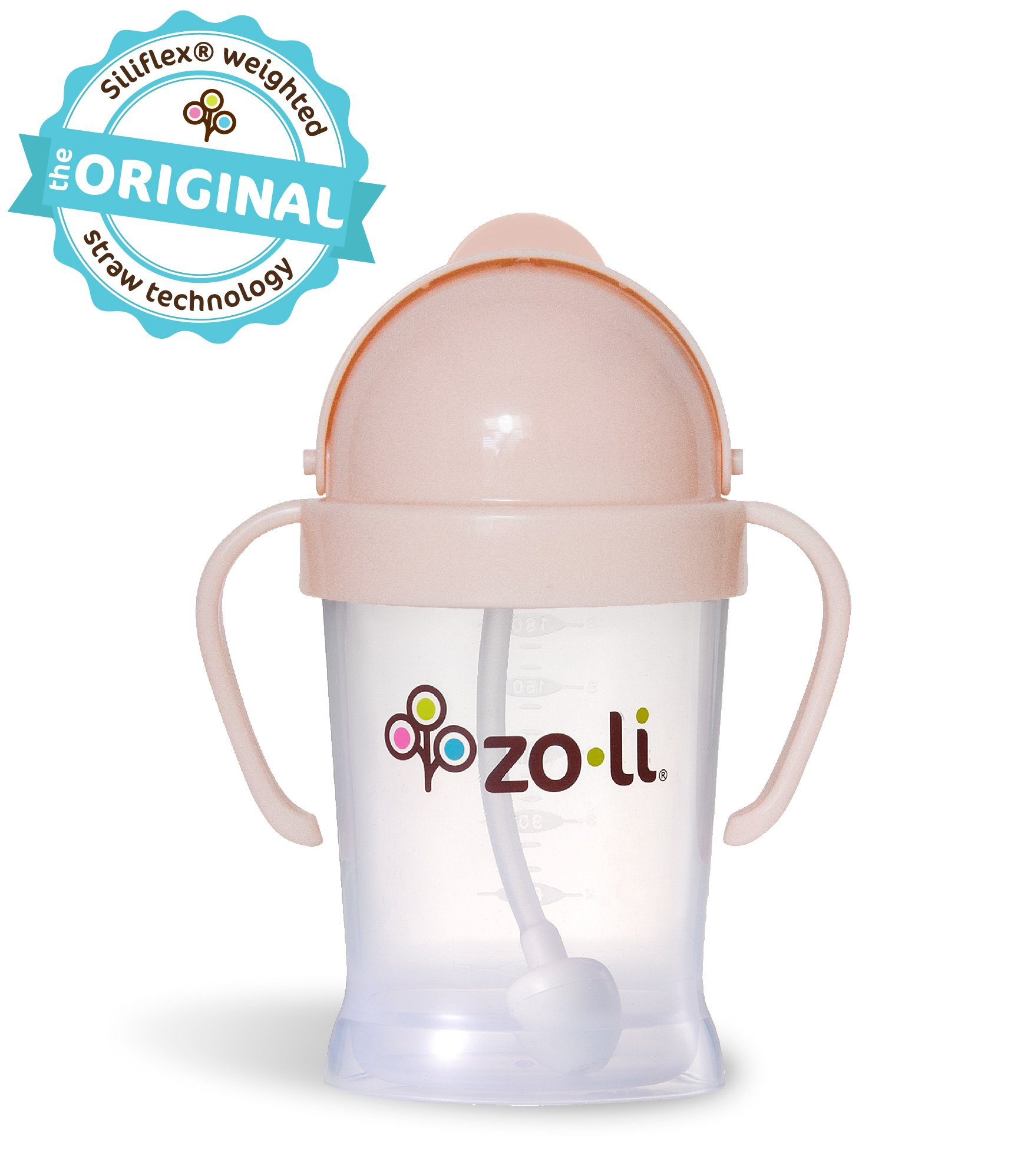 ZoLi BOT 6 Ounce | Siliflex Weighted Straw Sippy Cup, BPA Free, Blush