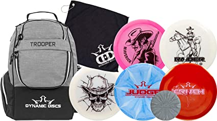 Dynamic Discs Disc Golf Starter Set | Trooper Disc Golf Bag Included | 25 Disc Capacity | Five Premium Discs | High Speed Distance Disc Golf Drivers, Midrange and Putter Included best golf sets