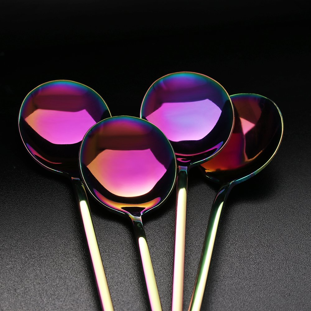 Uniqus 1PC New Luxury Multicolor Stainless Steel Rainbow Round and Sharp Head Coffee Scoop Cold Drink Fruit Long Ice Scoop Dinnerware