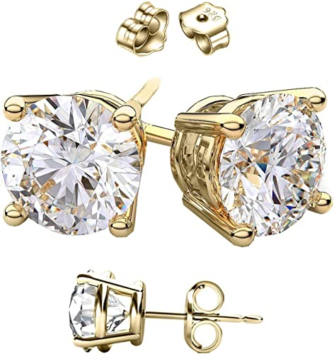 November Wellingsale 14K Yellow Gold Polished 5mm Round Bezel Set Birth CZ Cubic Zirconia Stone Stud Earrings With Screw Back