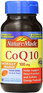 (2 Pack)-Nature Made Naturally Orange CoQ10 100 Mg, Liquid Softgel, 40 Count each