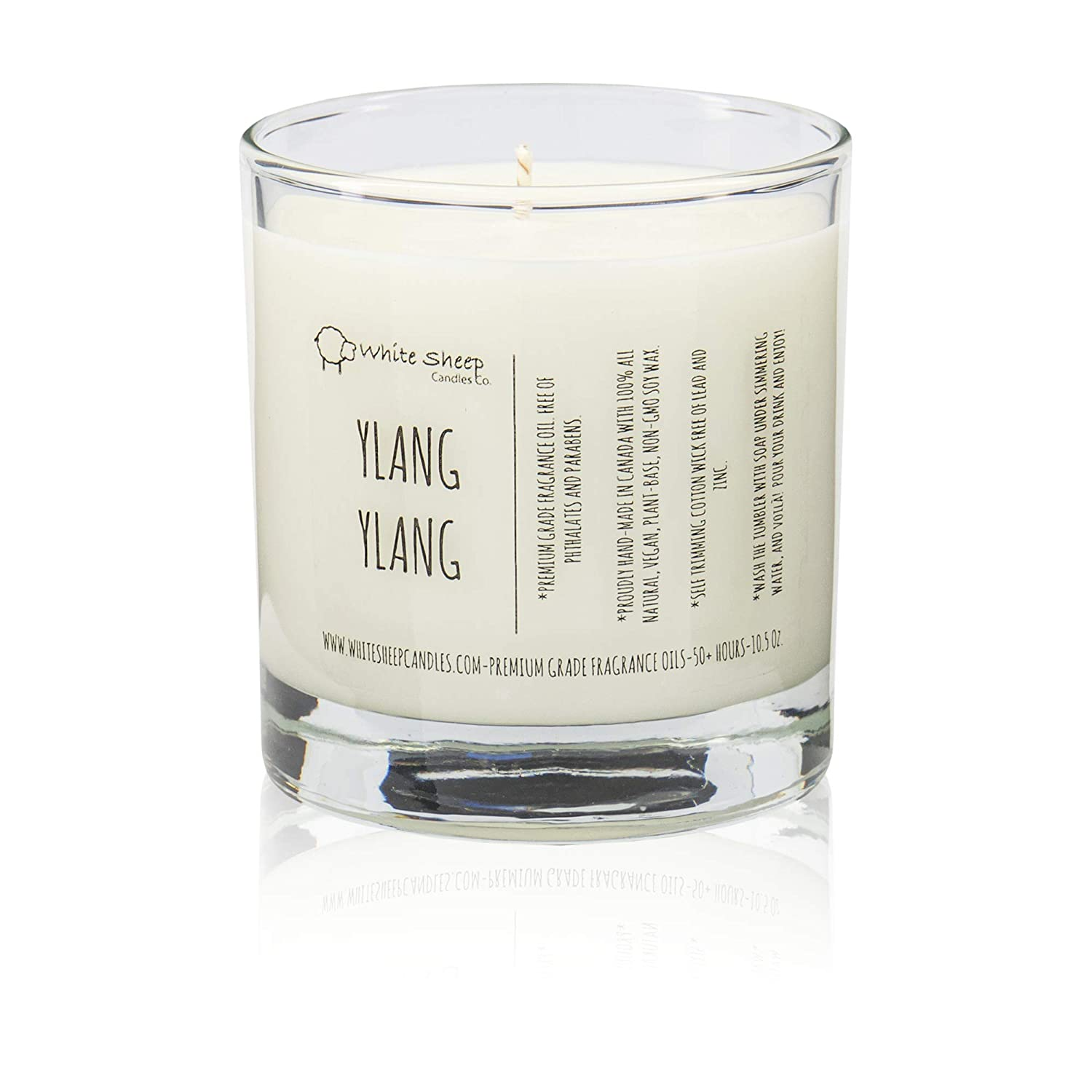 10.5 Oz. Ylang-Ylang Scented Candle by White Sheep Candles Co 50+ Hour Burn Cotton Wick FREE of Lead and Zinc - 100/% Natural Soy Wax Non-Toxic /& Environmentally Safe Materials Premium Grade Fragrance Oils