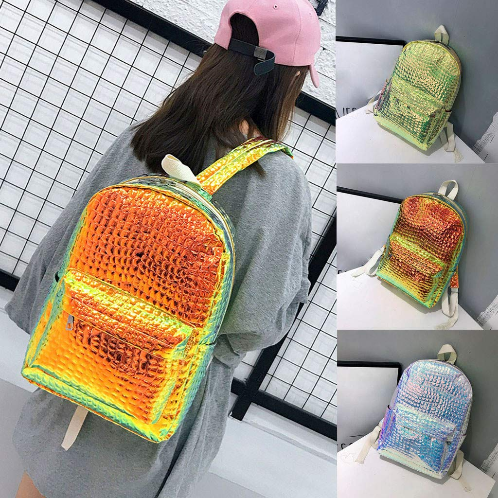Amazon.com: Holographic Laser Leather Backpacks Bookbag Travel Casual Daypack Laptop Bag Bookbag for Girls and Boys: Shoes