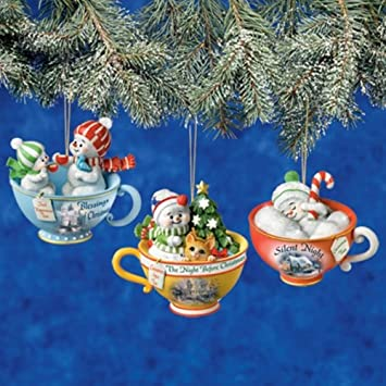 Thomas Kinkade Sweet Tea Baby Snowmen Tea Cup Ornaments Set of 3 - Issue #1 - Amazon.com: Thomas Kinkade Sweet Tea Baby Snowmen Tea Cup Ornaments