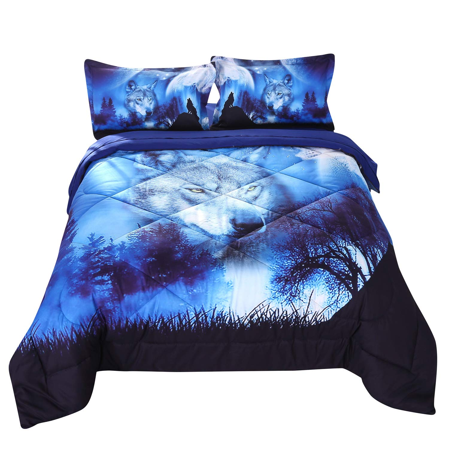 Wowelife Wolf Comforter Sets Twin 5 Piece Wolf Bedding Set Blue with Comforter, Flat Sheet, Fitted Sheet and 2 Pillow Cases for Kids(Twin-5 Piece)