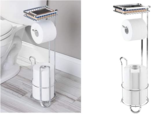 Amazon Com Interdesign York Lyra Free Standing Toilet Paper Holder With Shelf Dispenser And Spare Roll Storage For Bathroom Chrome Home Kitchen