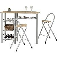 Ensemble STYLE avec table haute de bar mange-debout comptoir avec 3 étagères et 1 porte-bouteilles et 2 chaises/tabourets avec dossier, table et assise en MDF décor chêne sonoma structure en métal