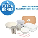 Silicone Stretch Lids - Eco Friendly - 6 Pack Of Assorted Sizes - BPA Free - Reusable & Durable - Dishwasher & Freezer Safe - Comes With 2 Silicone Straws