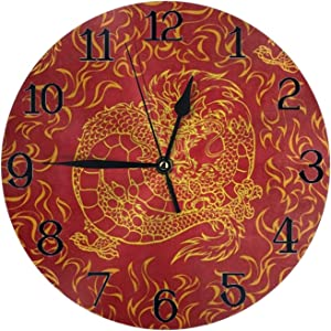 Wall Clock Large Playful Asian Chinese Dragon Non Ticking Kitchen Bedroom Bathroom Wall Clocks Battery Operated Silent Outdoor 3D Printed Clock Living Room Decor for Kids Womens