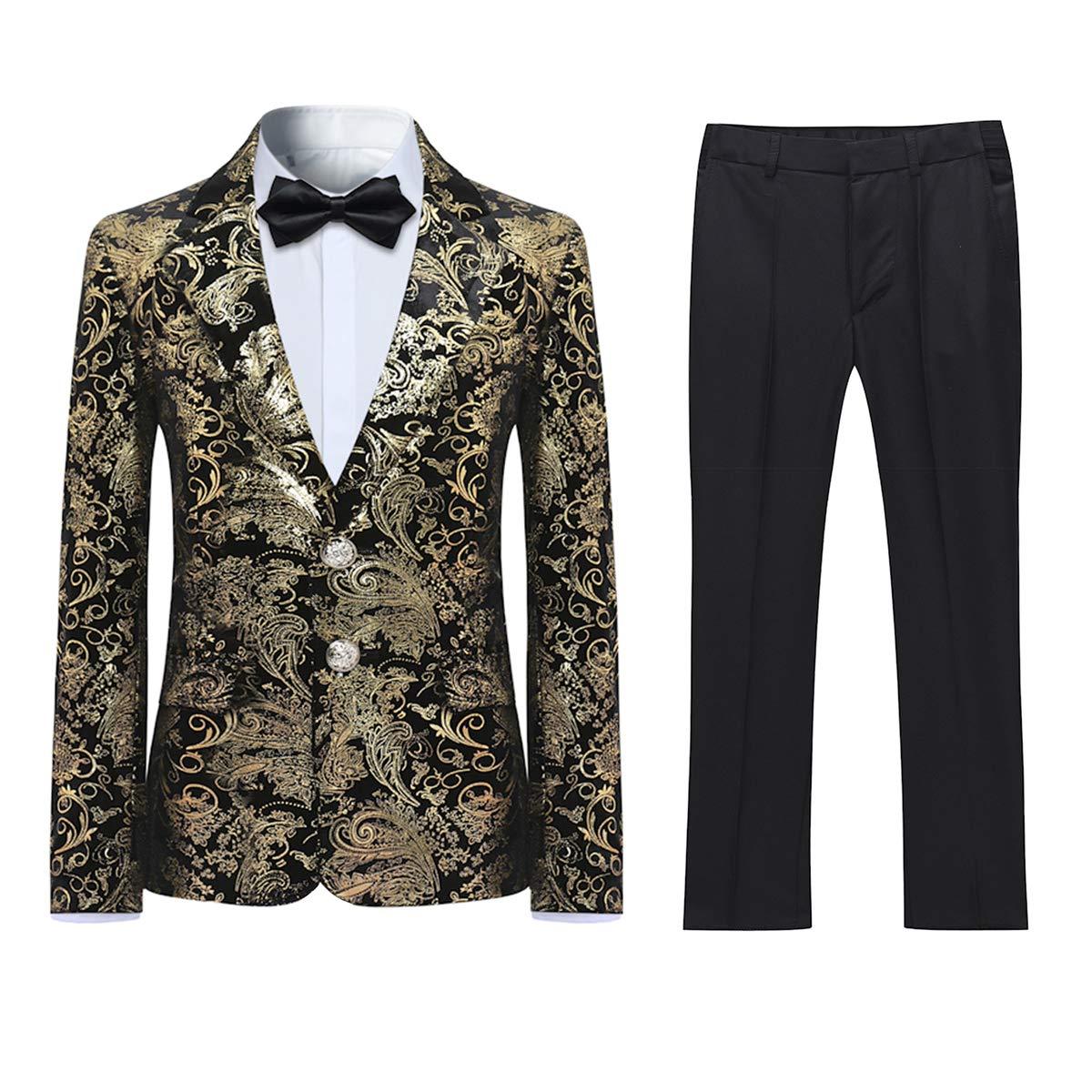 Boyland Boys Tuexdo Suit Formal Golden Jacquard Jacket Pants Black Suit Set