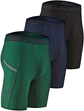 DEVOPS Men's Compression Shorts Underwear with Pocket (3 Pack)