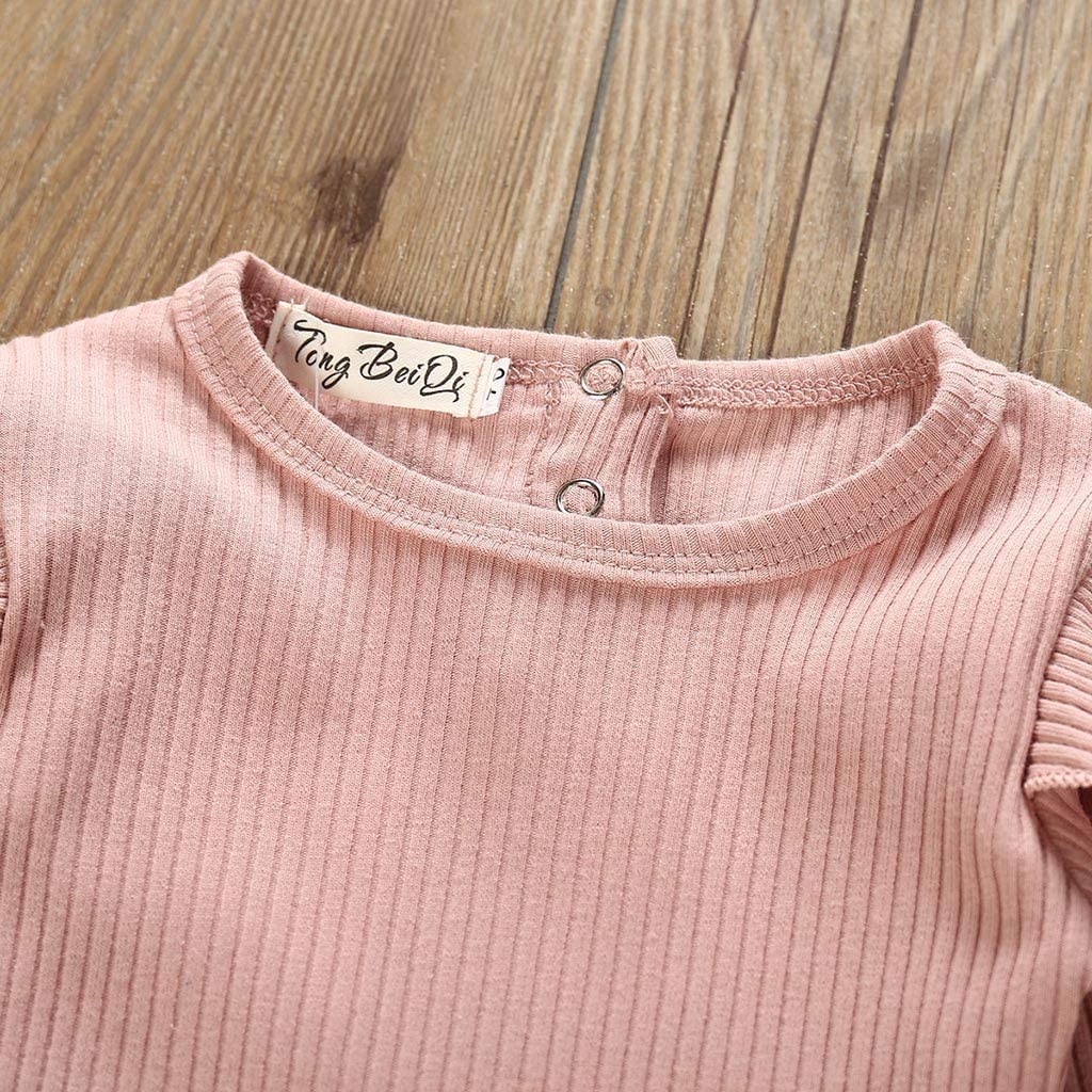 Winter Clothes Set-RQWEIN 2PCS Outfits Baby Girls Ruffle Romper Bodysuit Tops Denim Jeans High Waist Pants Floral Halen Pants