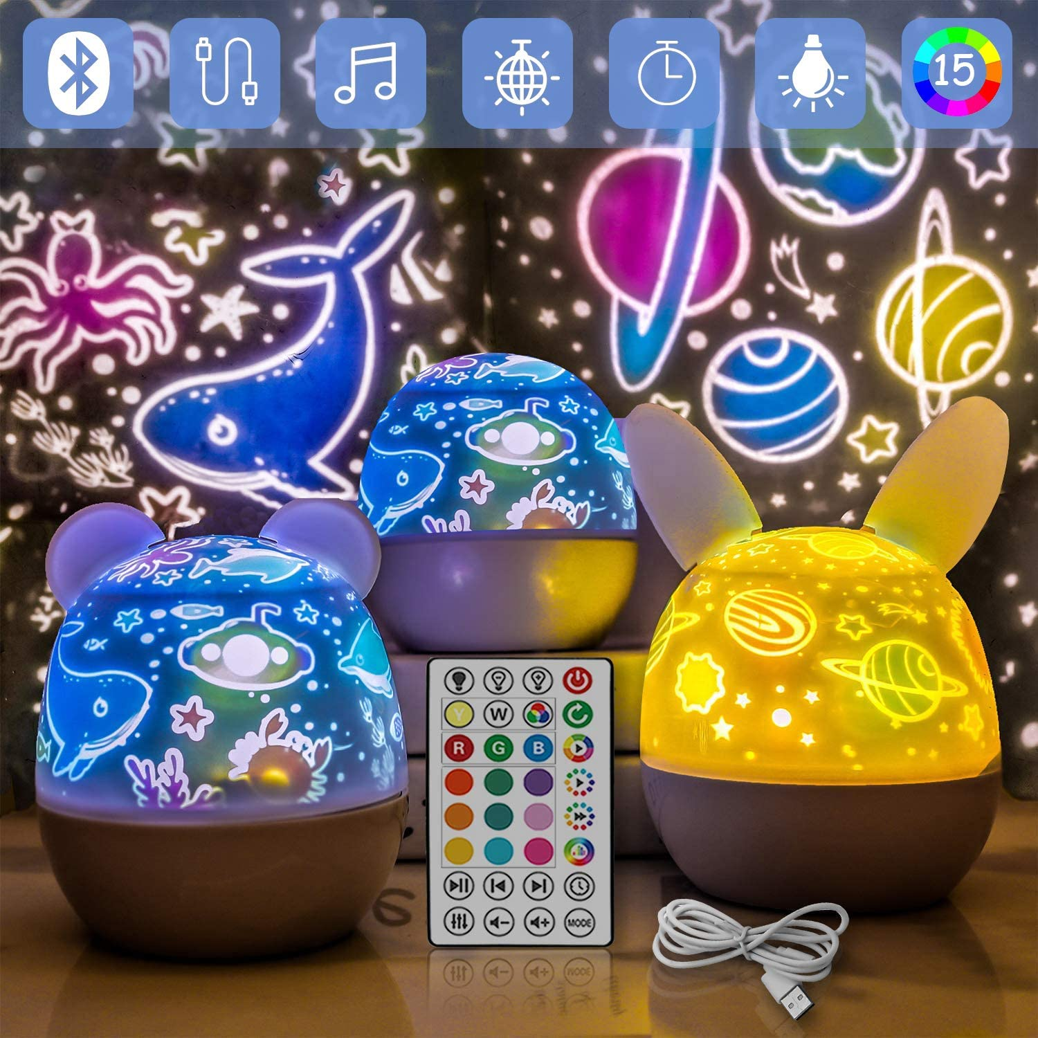 Night Light Projector for Kids,Star Ocean Projector with 6 Films,Bluetooth Speaker Rotation Night Lamp, USB Charging Night Light 3 Appearances,15 Interchangeable Lighting Modes,Gifts for Baby Bedroom