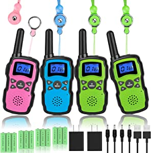 Wishouse Kids Walkie Talkies Rechargeable 4 Pack with 2 USB Chargers, Long Range Two Way Radios for Adults Family, Outdoor Camping Games Indoor Toys Birthday Xmas Gift for Boys Girls Children