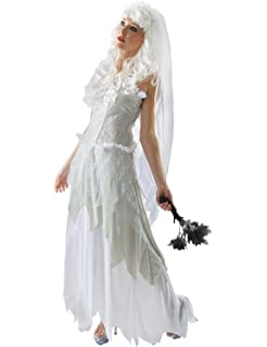 Orion Costumes Womens Ghostly Bride Halloween Bridal Ghost Fancy Dress Costume Grey