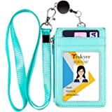 Teskyer ID Badge Holder with Retractable Lanyard, 4 Card Slots, Premium PU Leather ID Card Holder with Zipper Pocket, Easy Sw