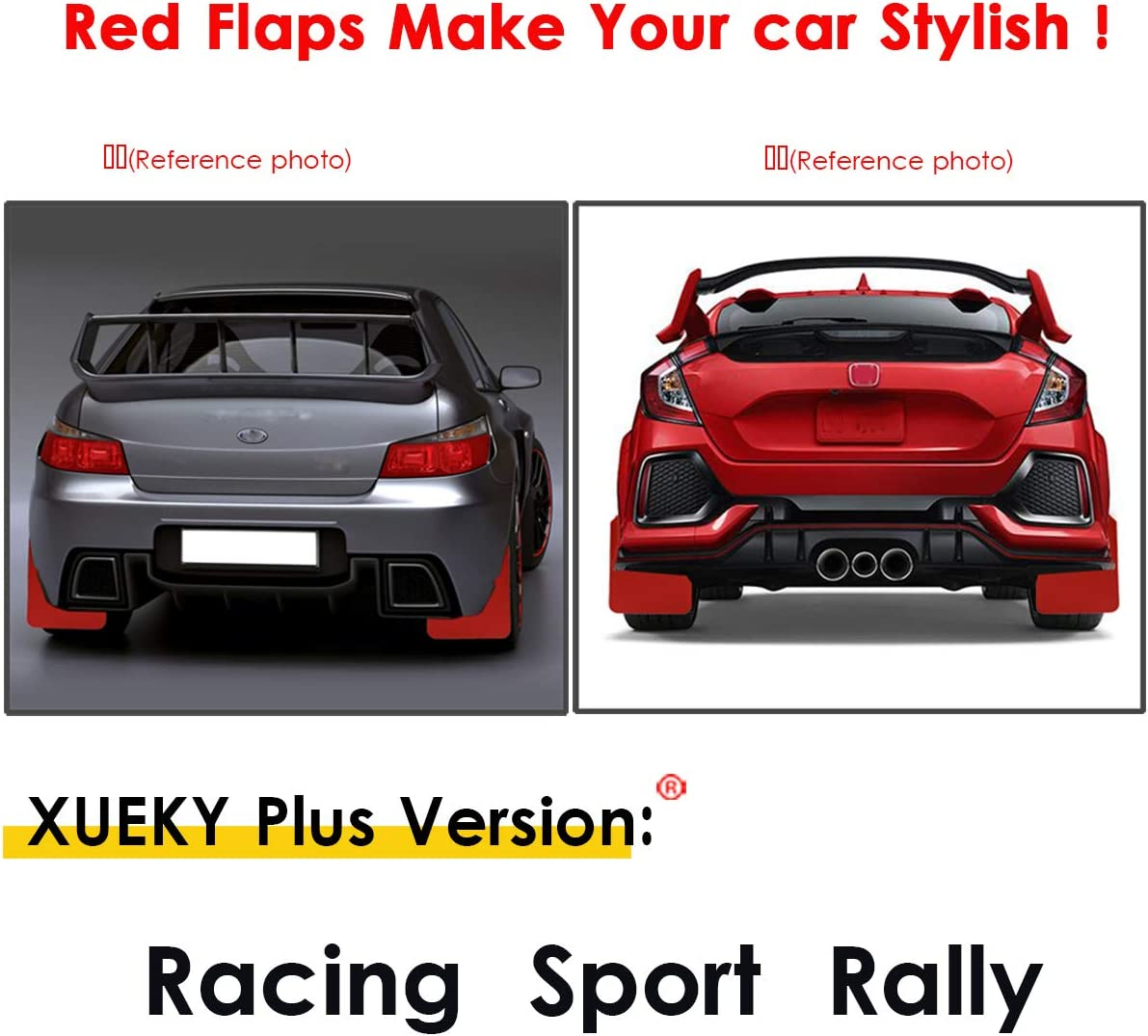 Blue Car Performance Sports Race Rally Style Splash Protection Mudflap Mud Flaps