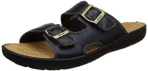 f9597bccad54 Scholl Men s Roman Blue Leather Flip Flops Thong Sandals-10 UK India (44