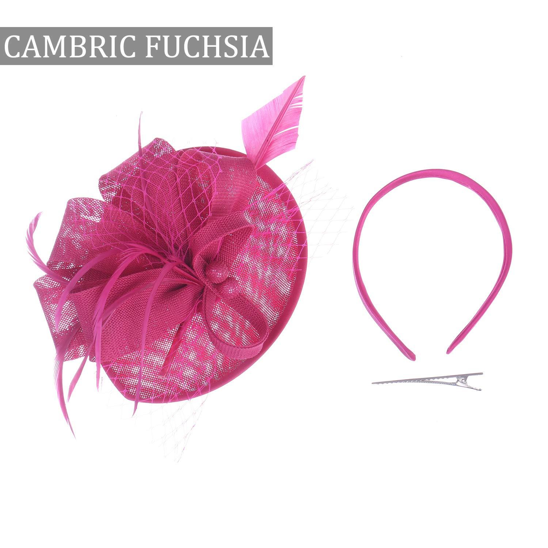Costume Hair Clip Accessories Felizhouse Satin Feather Fascinator Hats Headband for Women Wedding Cocktail Tea Party Royal Ascot Church Head Piece