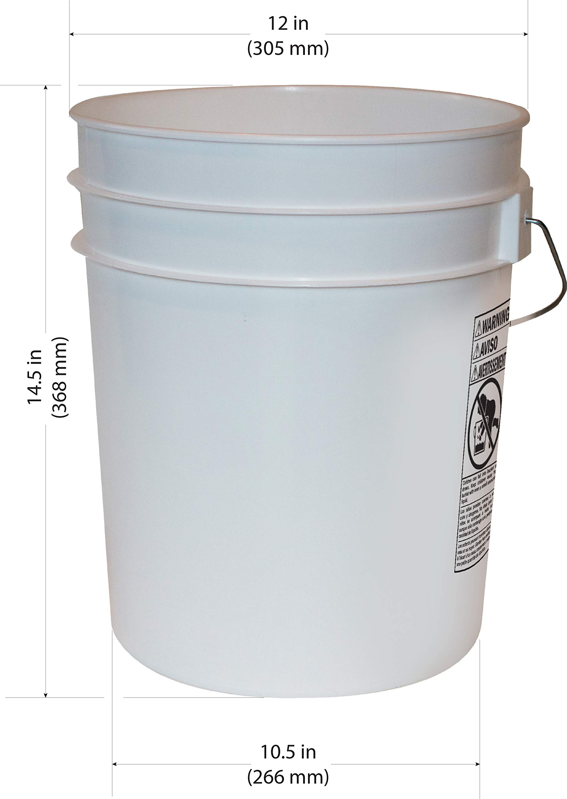5 Gallon Heavy Duty White Plastic Bucket, 10-Pack - Argee RG5700/10 by Argee (Image #2)