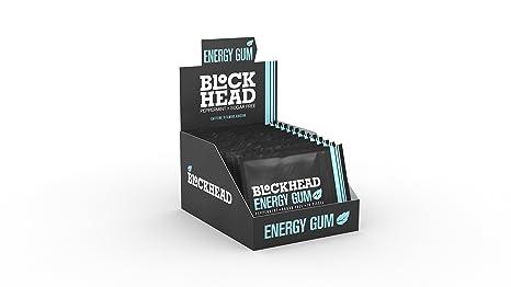 BLOCKHEAD Energy Gum Peppermint 120 piezas | Chicle de cafeína con Vitaminas B1, B6 y