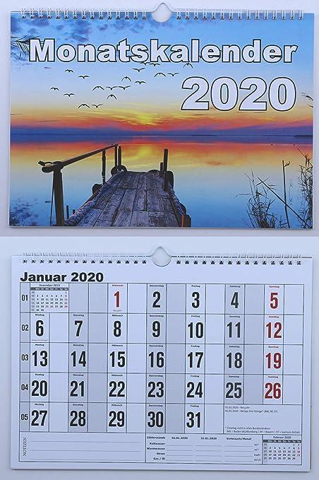 1 pieza meses de pared Calendario 2017 DIN A4 horizontal, mes calendario con espiral (de anillas,
