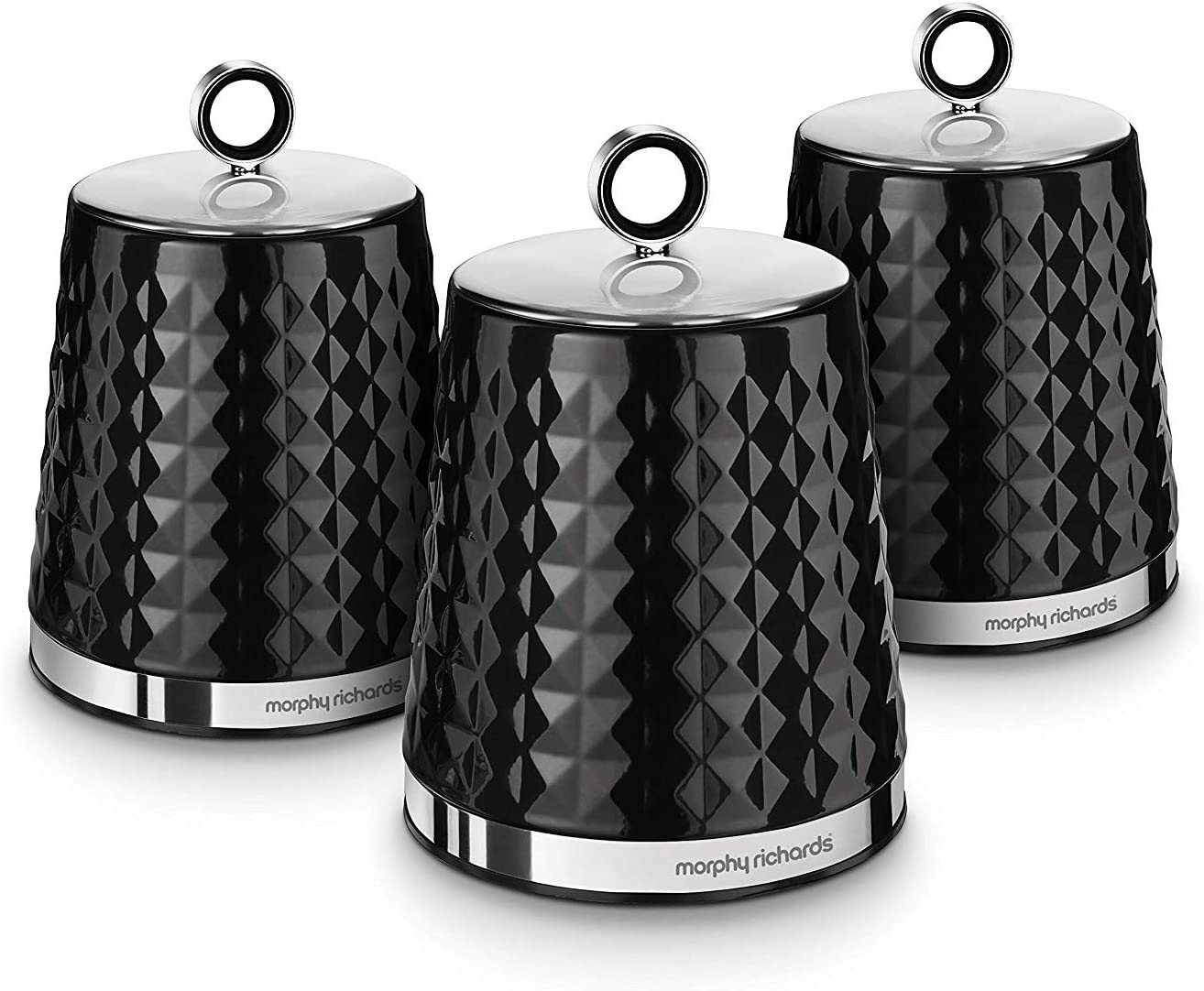 Morphy Richards Dimensions Set of 9 Round Kitchen Storage Canisters, Black