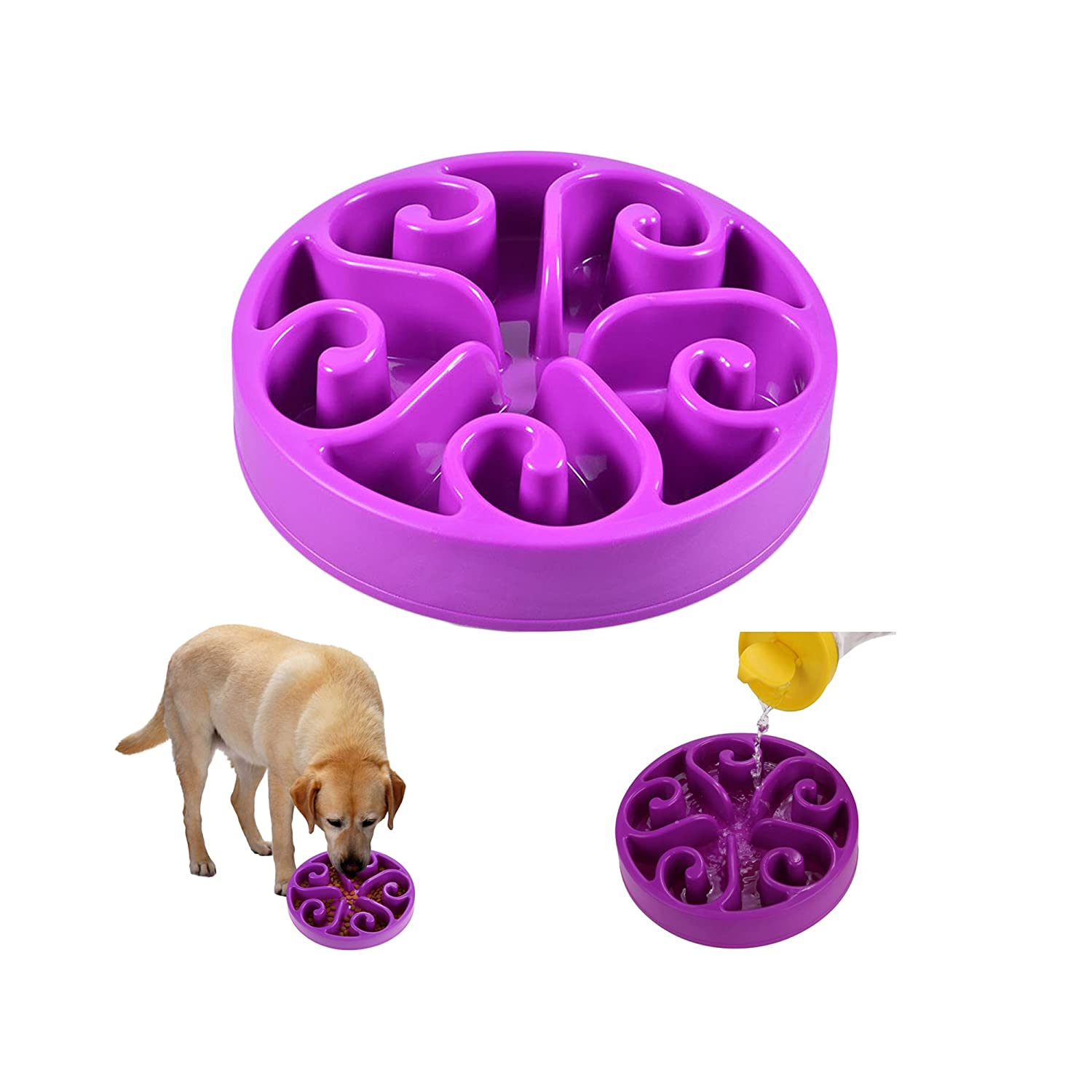 MCBOSON Fun Feeder Slow Feed Interactive Bloat Stop Dog Bowl For Small & Medium Dogs and Cats, Food -Safe and NON SLIP Design Pet Food Bowl Maze