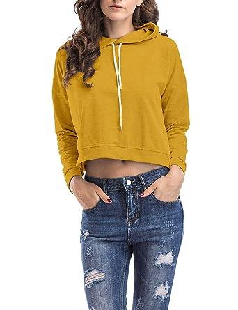 Sweatshirt Teenager Bauchfrei Mädchen Kurze Langarm Damen