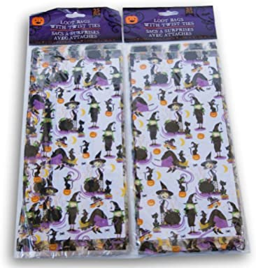 Spooky Town Halloween Themed Witches Loot Treat Bags - 50 Pack