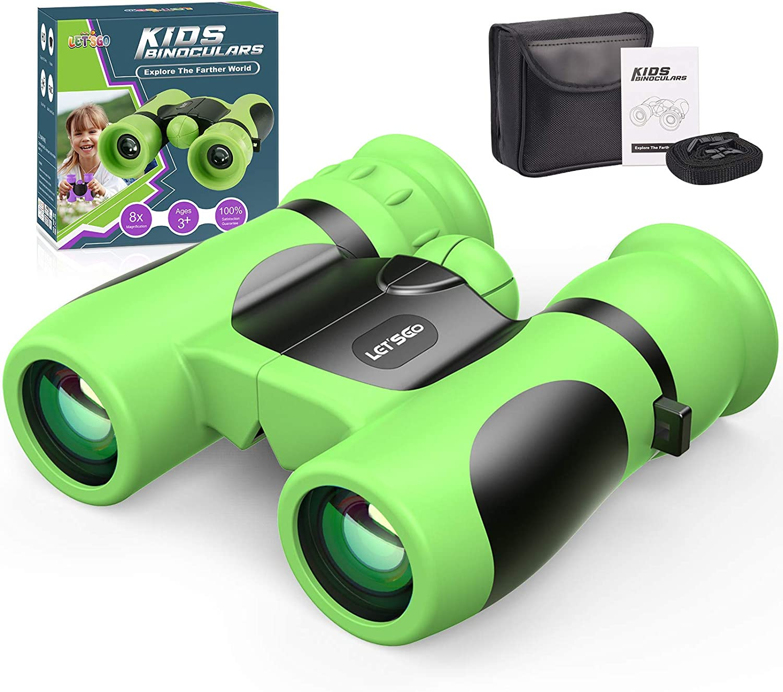 LetsGO toyz Impermeable Prismaticos para Niños -8x21, Regalos Cumpleaños & Aire Libre Juguetes