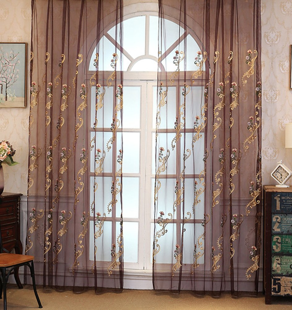ASide BSide Home Treatment Voile Panels Victorian Style Floral Embroidered Sheer Curtains Rod Pockets For Kitchen Houseroom and Children Room (1 Panel, W 52 x L 84 inch, Purple)