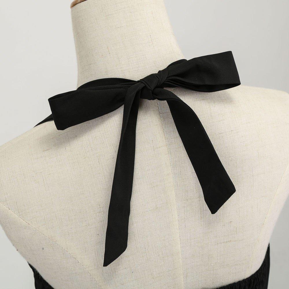 HIRIRI Women Bow Knot Pleat Dresses Halter Swing Dress Semi Formal Gowns Belted Mini Midi Skirt
