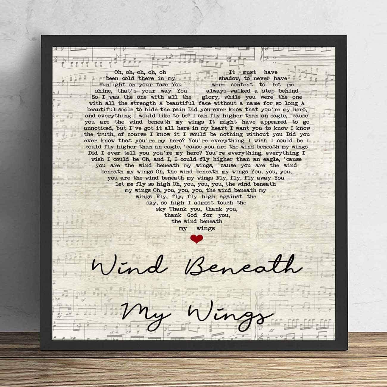 4 faionjaycho Wind Beneath My Wings Script Heart Song Lyric Quote Wall Art Gift Print Anniversary Valentine's Wedding Gift Home Decor Father's Day 8X8in Framed