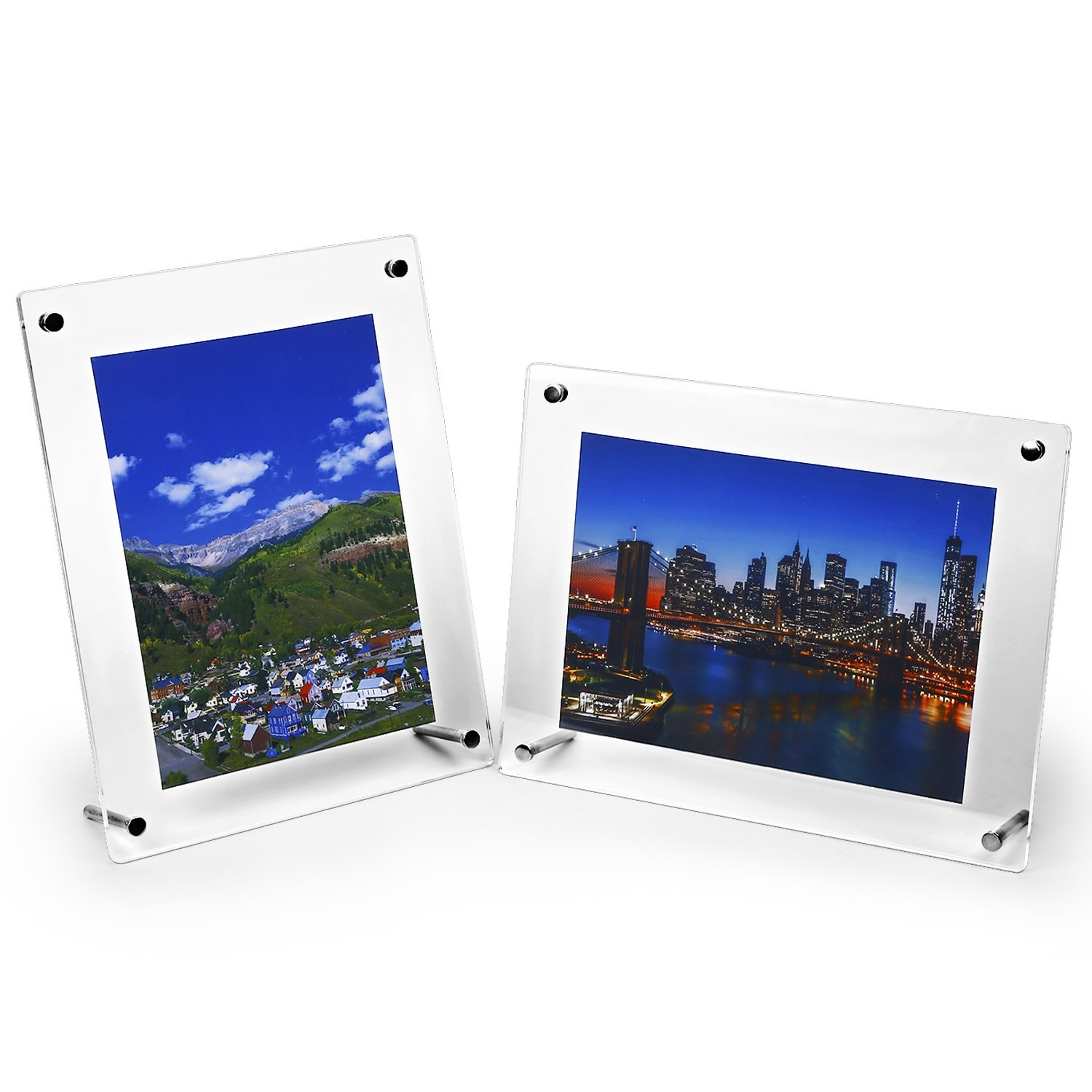 HESIN 2 Pack of 6 x9 Acrylic Picture Frame,Tabletop Photo Frame and Wall Mounted Sign Holder, Suit for A5 Paper or 6''x8'' Frame Inside (2 Pack)